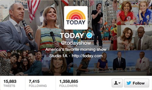 screenshot of The Today Show twitter profile
