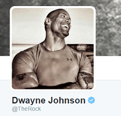 screenshot of Dwayne Johnson twitter profile