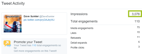 screenshot of tweet analytics