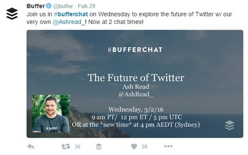 screenshot of Buffer chat tweet