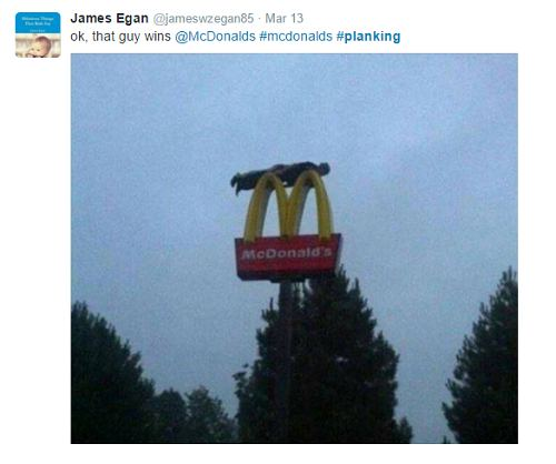 screenshot of mcdonalds planking tweet