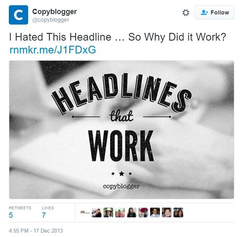 screenshot of copyblogger tweet