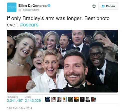 screenshot of Ellen DeGeneres tweet