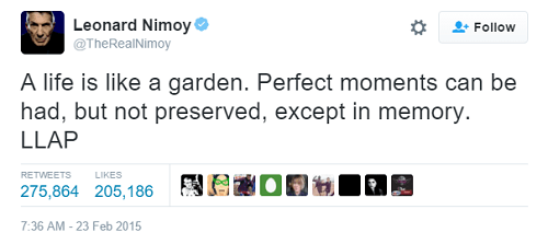 screenshot of Leonard Nimoy tweet