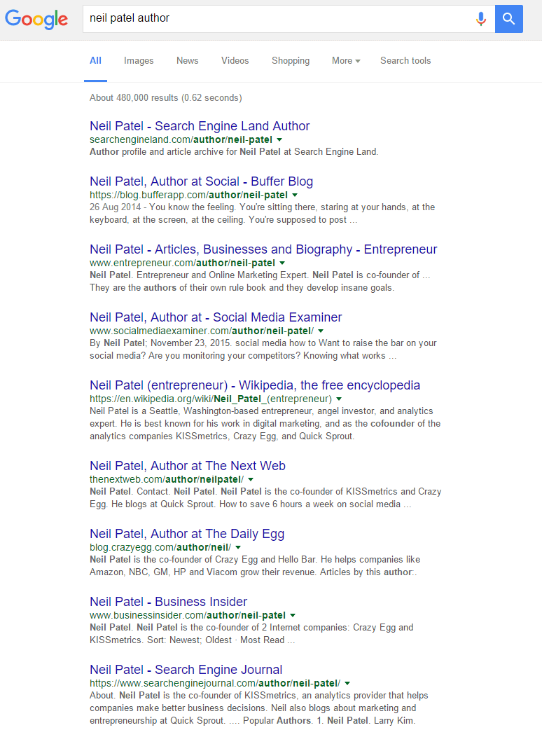 screenshot of Neil Patel google search