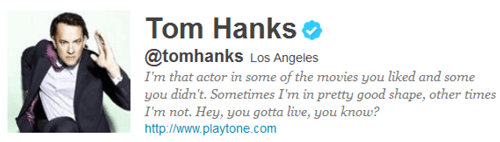 screenshot of Tom Hanks twitter profile