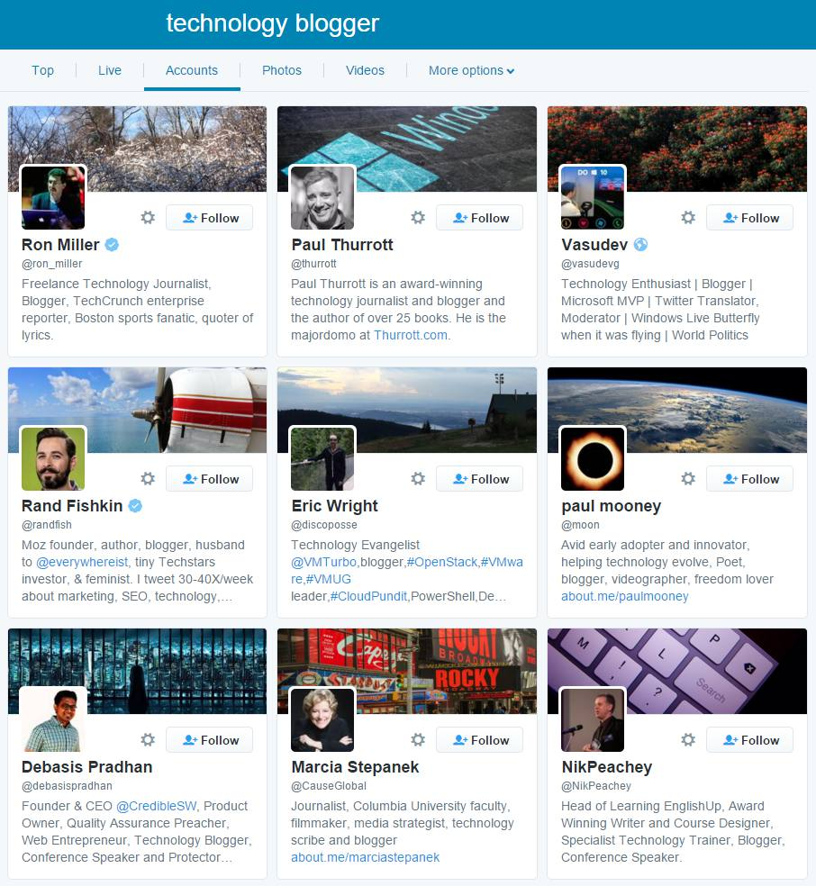 screenshot of Twitter search for Technology Bloggers