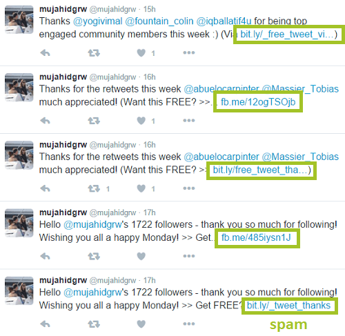 screenshot of spam on twitter