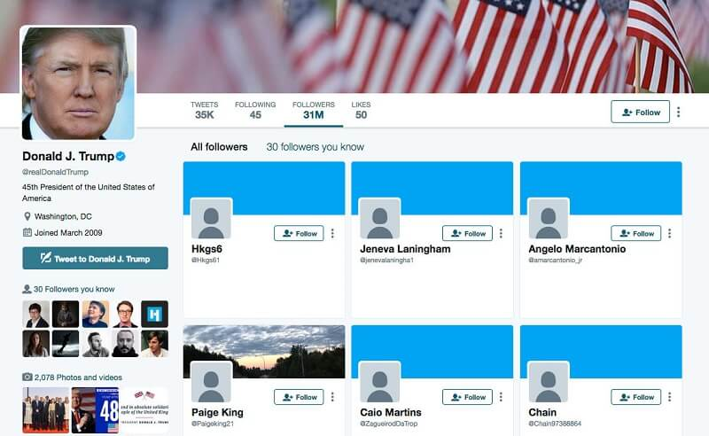 screenshot of Donald Trump's followers